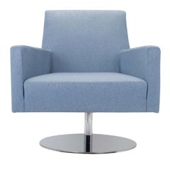 Boston Light Blue Armchair with Metal Swivel Base