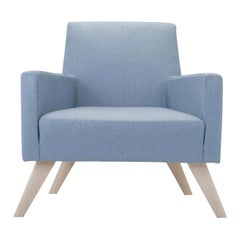 Boston Light Blue Armchair with Wooden Feet