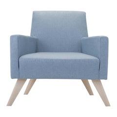 Boston Light Blue Armchair with Wooden Feet