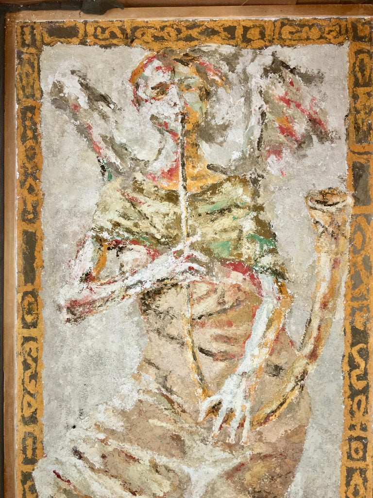 Boston Modern Fresco of Angel on Concrete by Jean Wechsler Knapp In Good Condition For Sale In Hingham, MA