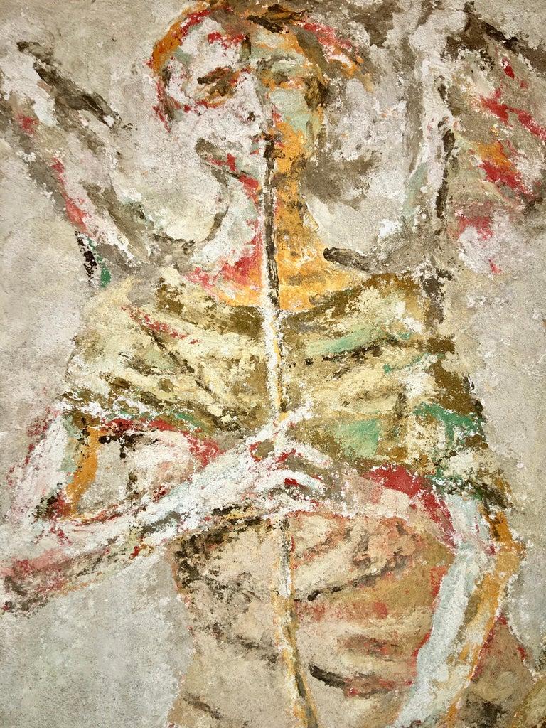 Cement Boston Modern Fresco of Angel on Concrete by Jean Wechsler Knapp For Sale