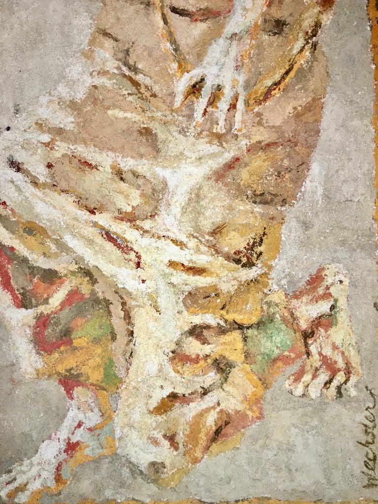 Boston Modern Fresco of Angel on Concrete by Jean Wechsler Knapp For Sale 2