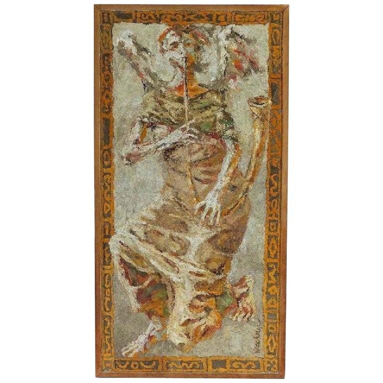 Boston Modern Fresco of Angel on Concrete by Jean Wechsler Knapp For Sale