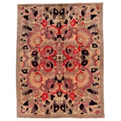 Vintage French Art Deco Botanic Handwoven Wool Rug