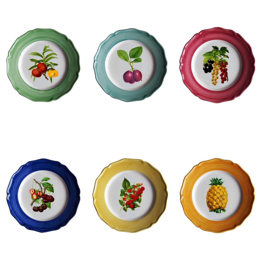 Botanica Hand Painted Ceramic Plates Set of 6 Dessert Plates Made in Italy