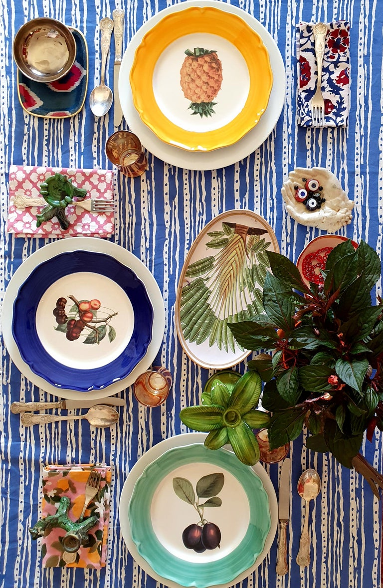 Mid-Century Modern Botanica Hand Painted Ceramic Plates Set of 6 Dinner Plates Made in Italy For Sale