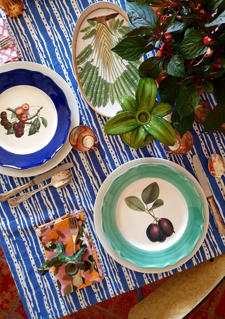 Botanica Hand Painted Ceramic Plates Set of 6 Dinner Plates Made in Italy For Sale 1
