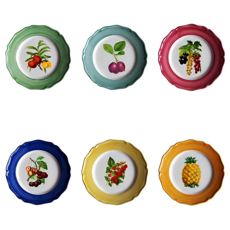 Botanica Hand Painted Ceramic Plates Set of 6 Dinner Plates Made in Italy For Sale