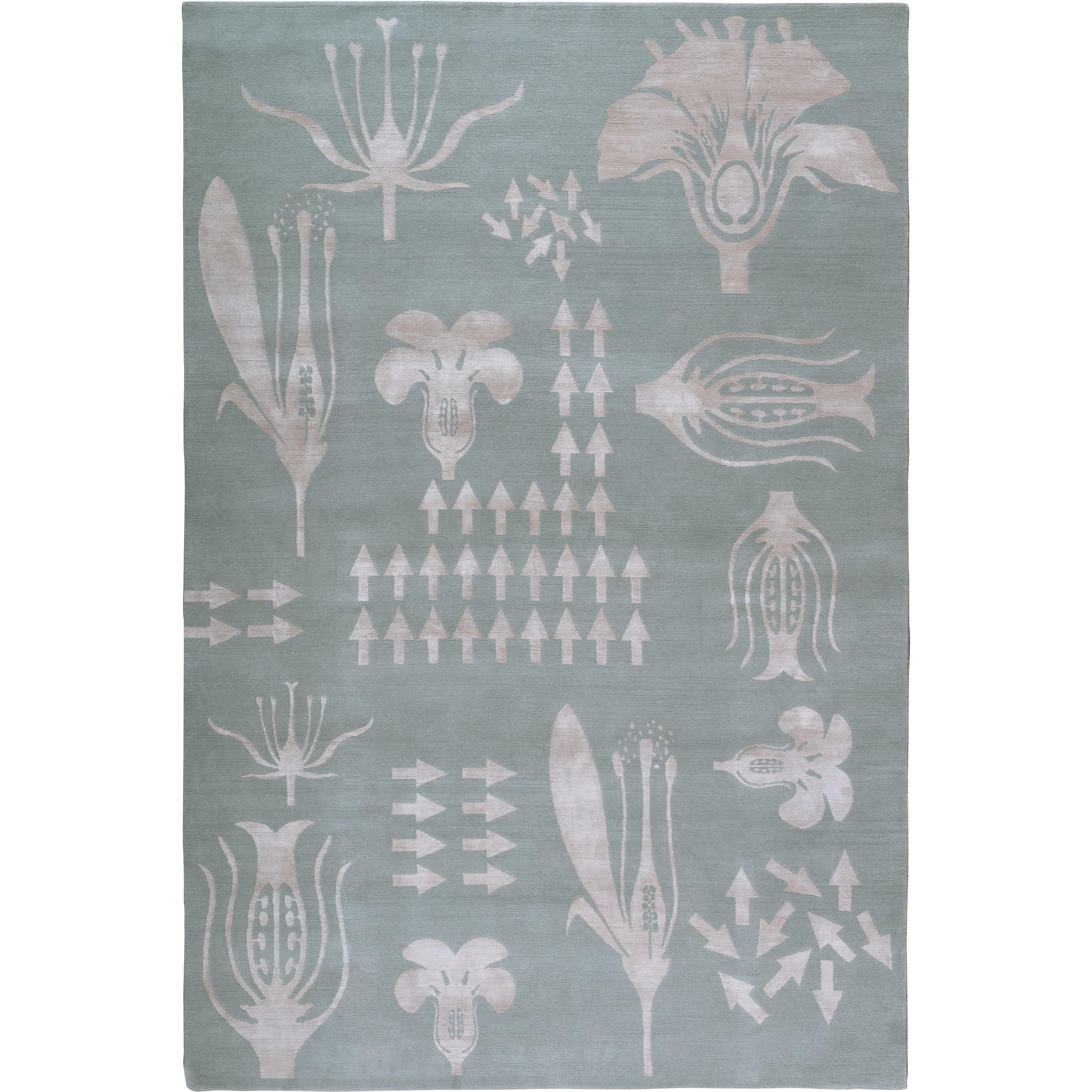 Botanical Anatomy Grey Hand-Knotted 10x8 Rug in Wool & Silk by Christopher Kane