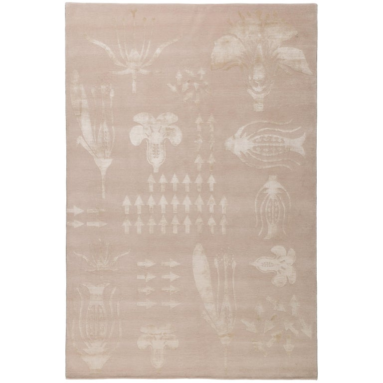 Botanical Anatomy Nude 10x8 Rug in Wool and Silk by Christopher Kane For Sale
