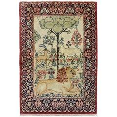 Botanical Animal Early 20th Century Pictorial Persian Kerman Mini Rug