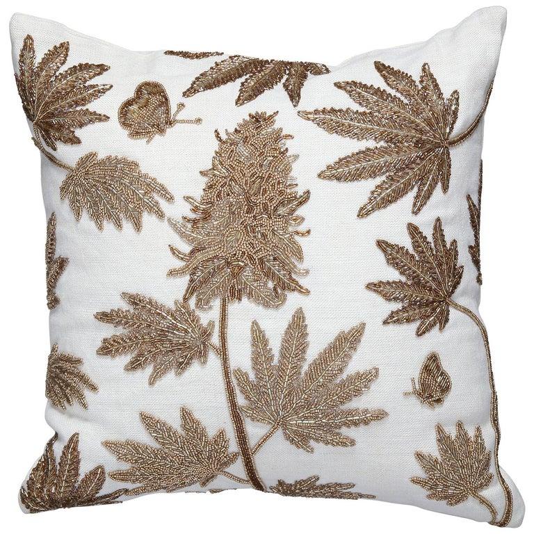 Botanist Beaded 'Ganja' Pillow For Sale