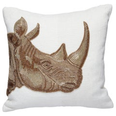 Botanist Beaded 'Rhino' Pillow