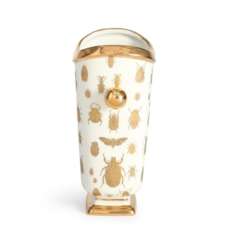 Bohemian Botanist 'Specimen' Gilded Porcelain Vase For Sale