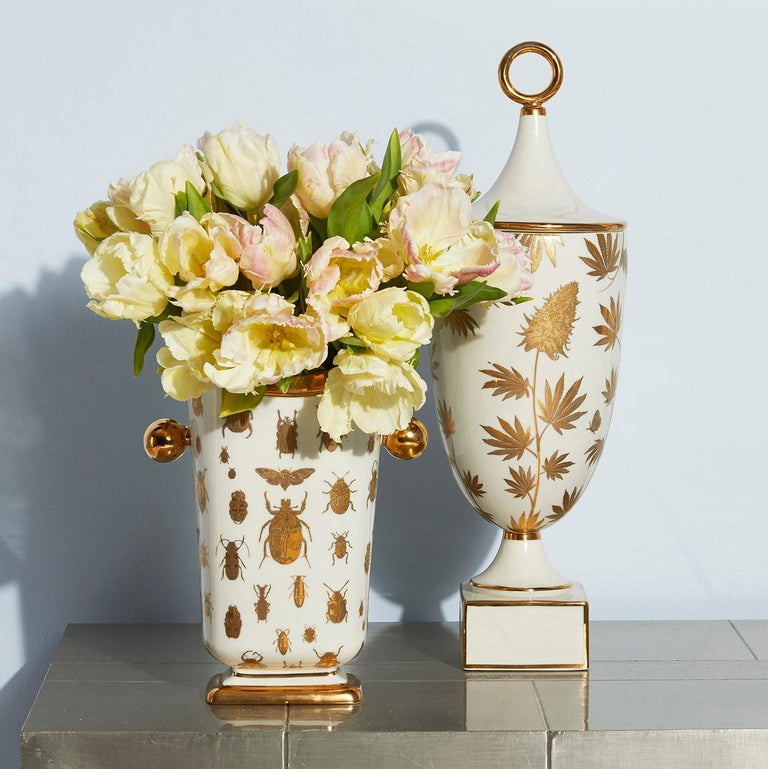 American Botanist 'Specimen' Gilded Porcelain Vase For Sale