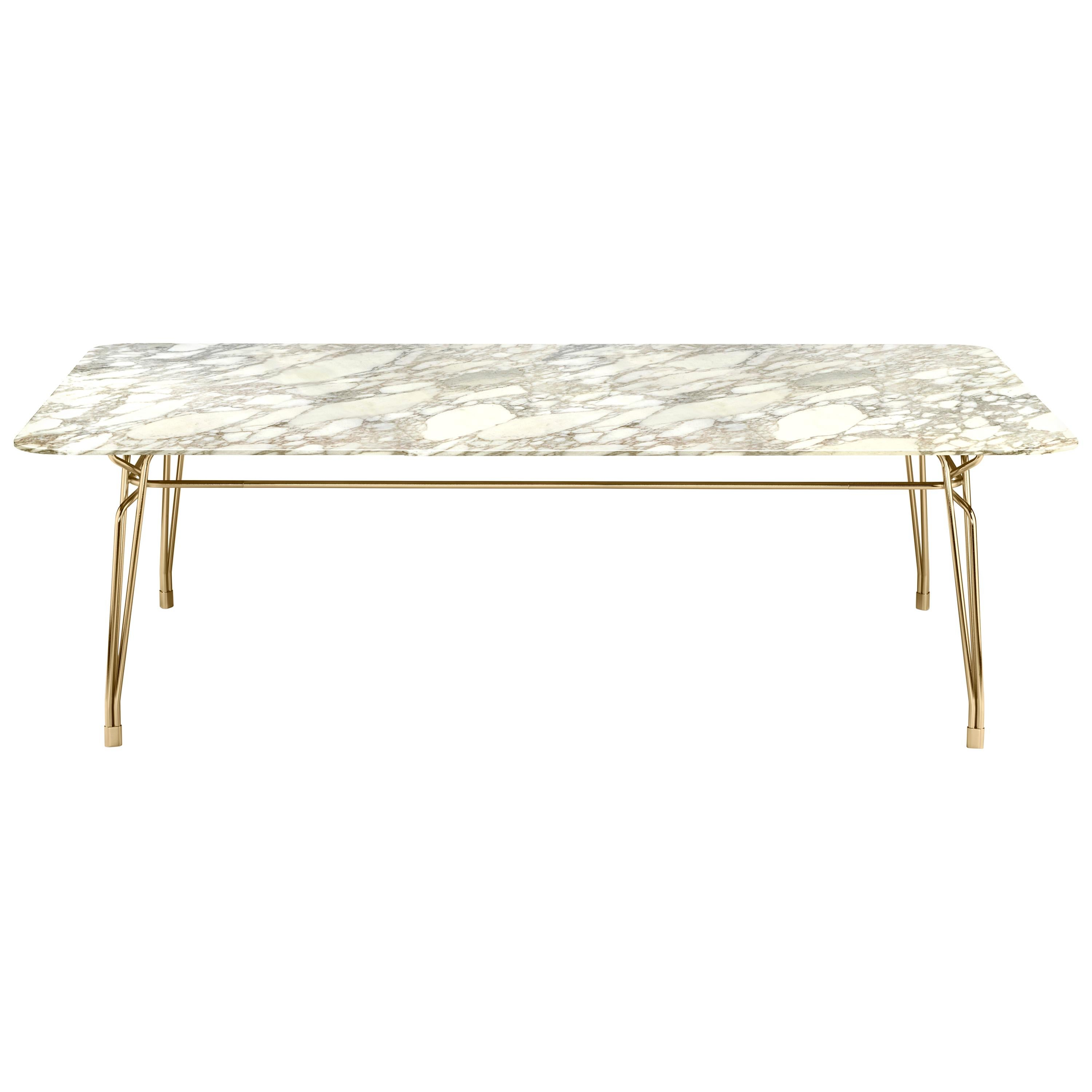 Botany Dining Table in Calacatta Gold Marble Top with Polished Brass Legs
