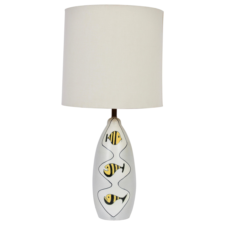 Bitossi Glazed Ceramic Lamp Hand Painted with Three Yellow Striped Zebra Fish