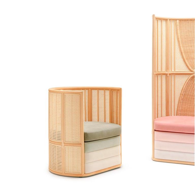 Contemporary Bottega Intreccio Lisetta Woven Wicker 21st Century Armchair, Elena Salmistraro For Sale