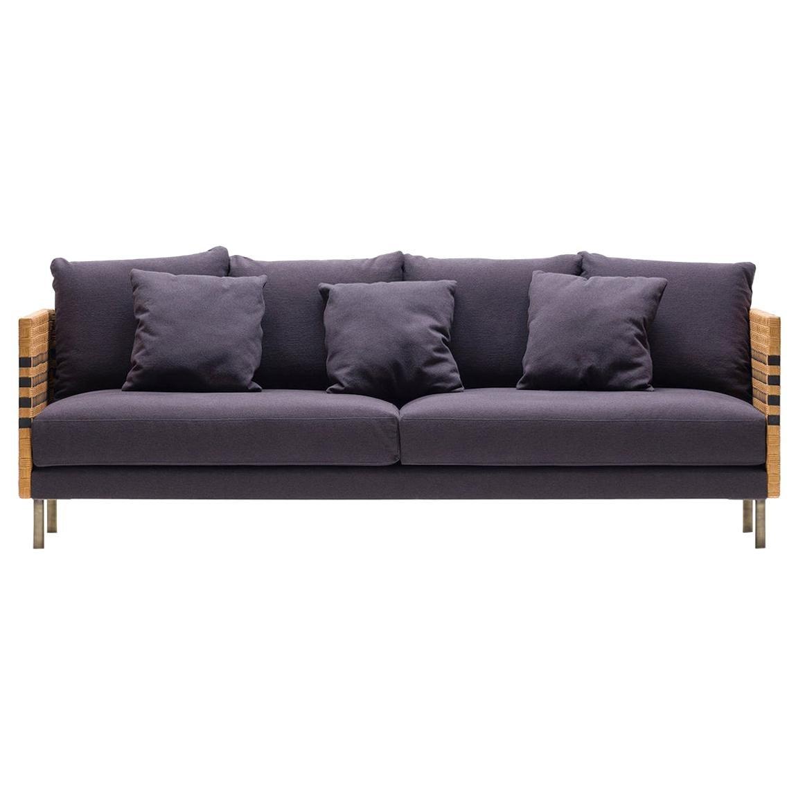 Bottega Intreccio Milli 240 Two Extra Seats Woven Wicker 21st Century Sofa