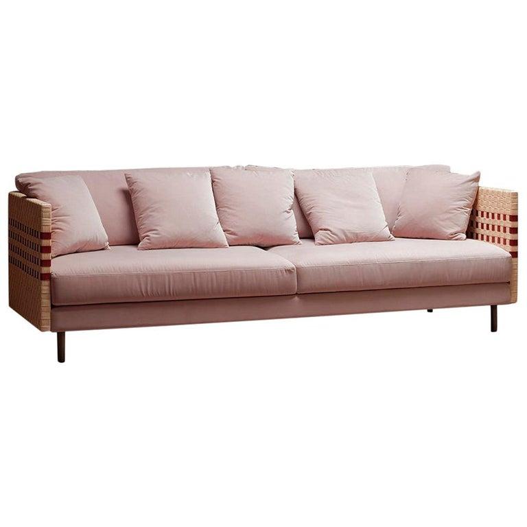 Bottega Intreccio Milli 280 Three-Seat Sofa Woven Wicker 21st Century Sofa For Sale