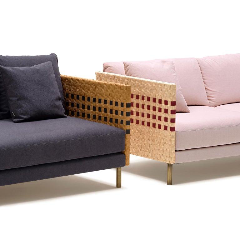 Italian Bottega Intreccio Milli Sofà Composition Woven Wicker 21st Century Sofà For Sale