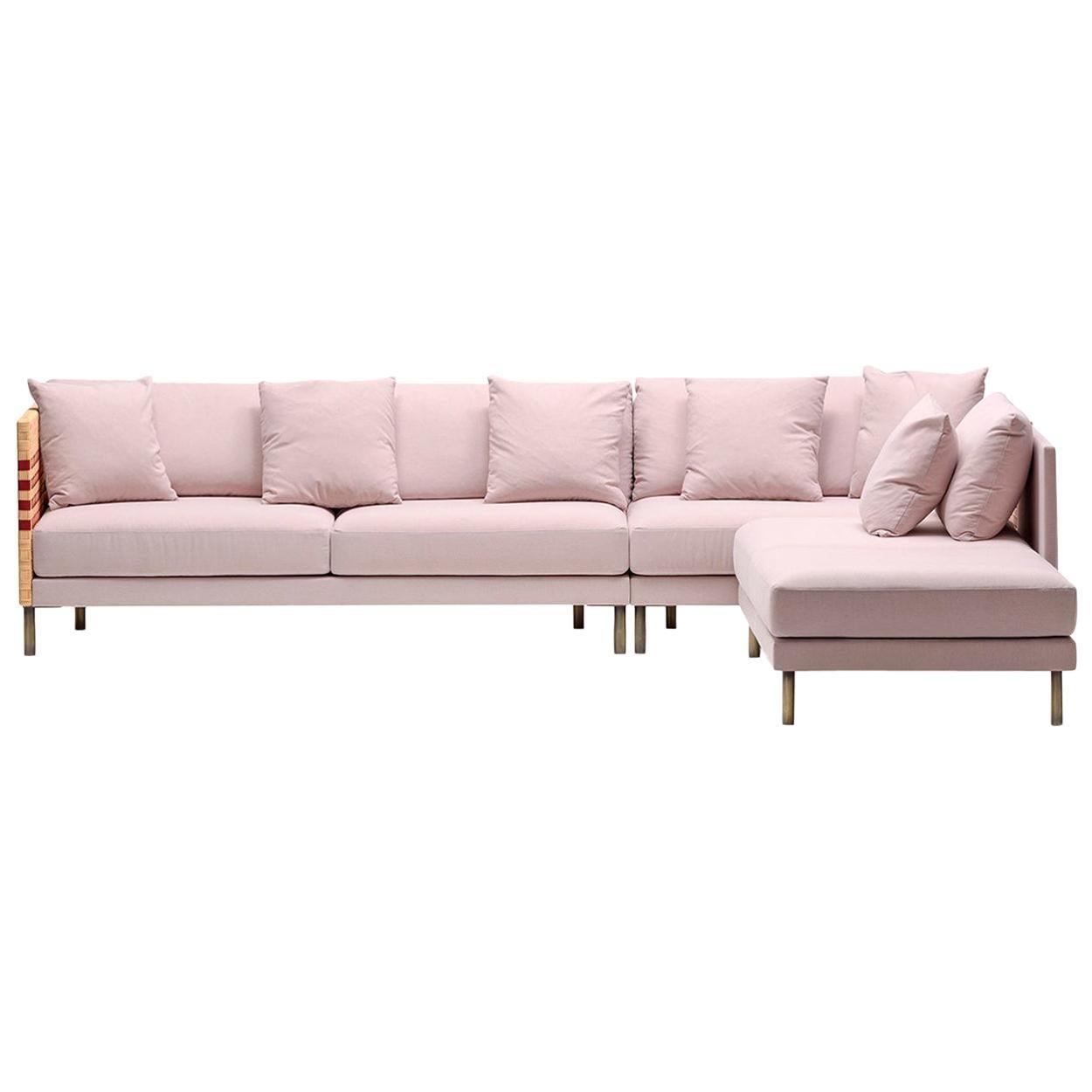 Bottega Intreccio Milli Sofà Composition Woven Wicker 21st Century Sofa
