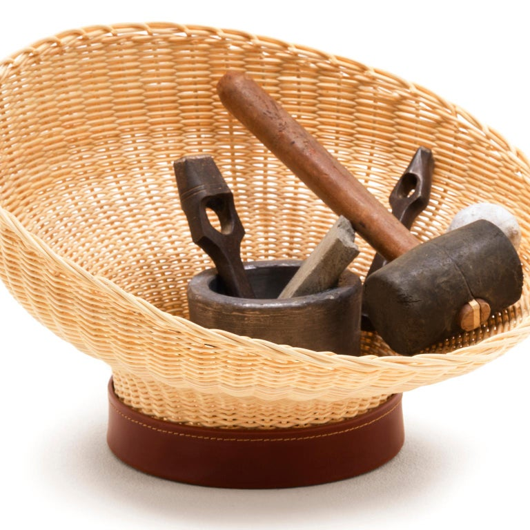 Italian Bottega Intreccio Woven Wicker 21st Century Mawa Centerpiece, by Setsu & Shinobu For Sale