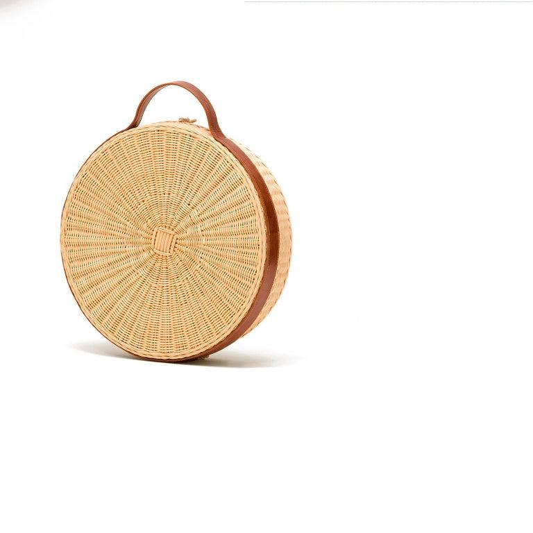 Arts and Crafts Bottega Intreccio Woven Wicker 21st Century Picnic Mirror, by Maurizio Bernabei For Sale