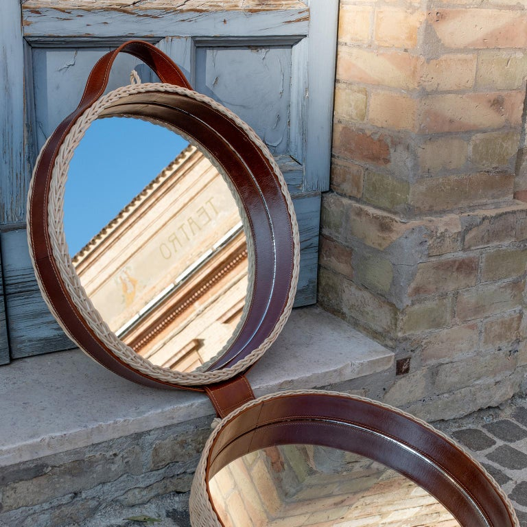 Contemporary Bottega Intreccio Woven Wicker 21st Century Picnic Mirror, by Maurizio Bernabei For Sale