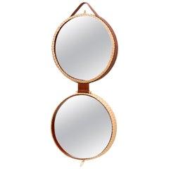 Bottega Intreccio Woven Wicker 21st Century Picnic Mirror, by Maurizio Bernabei