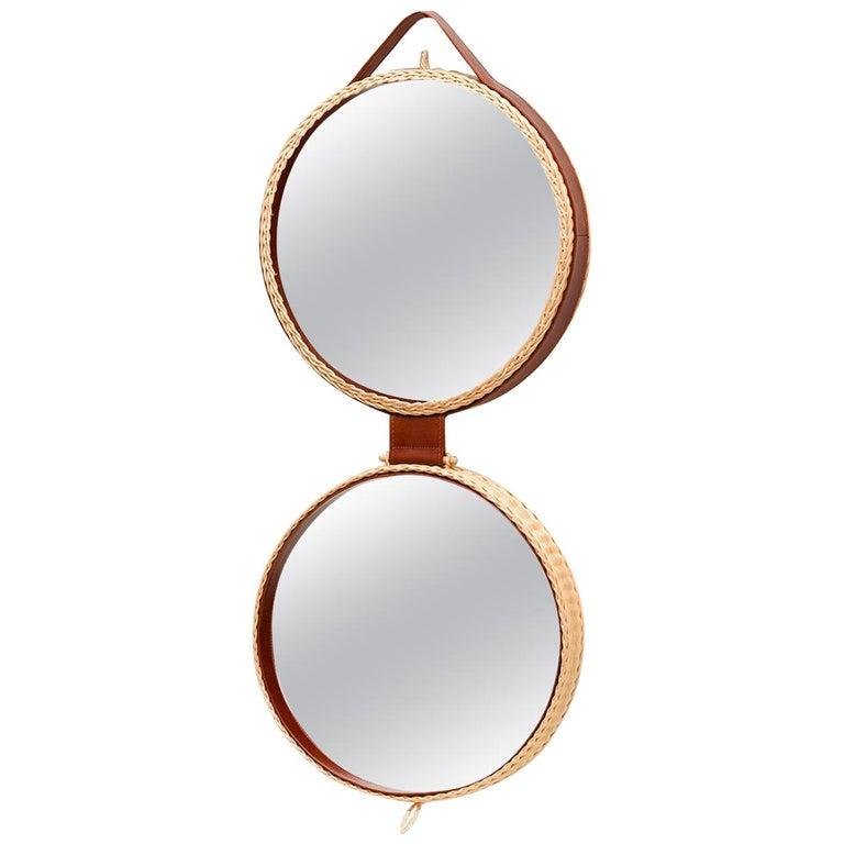 Bottega Intreccio Woven Wicker 21st Century Picnic Mirror, by Maurizio Bernabei For Sale