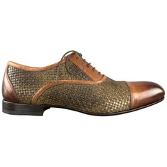BOTTEGA ITALIANA Size 10 Brown Two Tone Woven Leather Cap Toe Lace Up