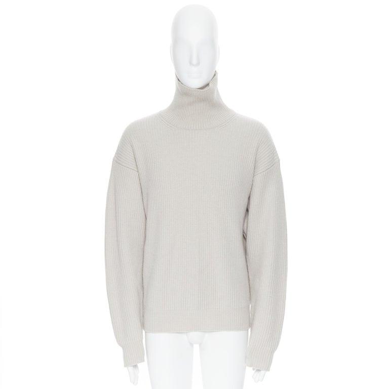 Beige BOTTEGA VENETA 100% cashmere taupe beige oversized turtleneck sweater IT48 M For Sale