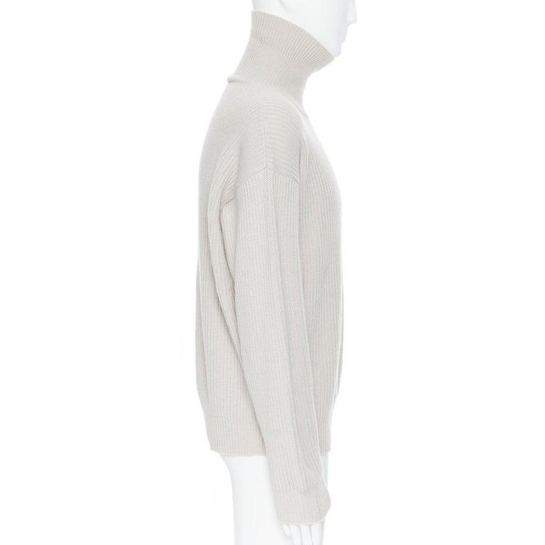 Men's BOTTEGA VENETA 100% cashmere taupe beige oversized turtleneck sweater IT48 M For Sale