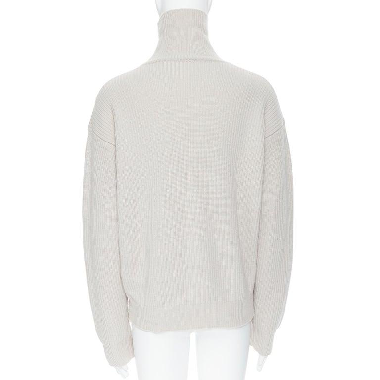 BOTTEGA VENETA 100% cashmere taupe beige oversized turtleneck sweater IT48 M For Sale 1
