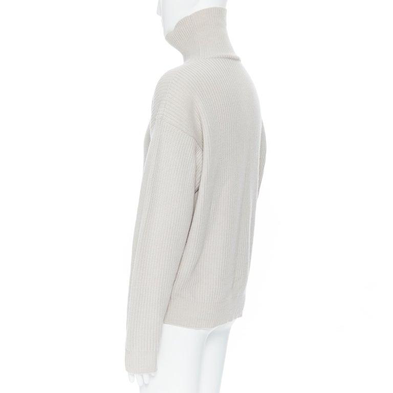 BOTTEGA VENETA 100% cashmere taupe beige oversized turtleneck sweater IT48 M For Sale 2