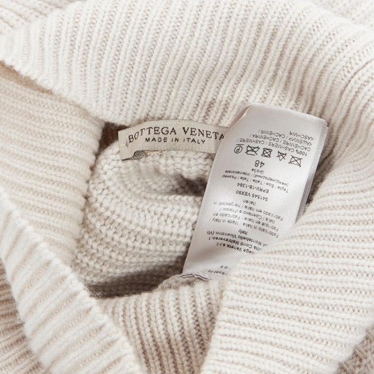BOTTEGA VENETA 100% cashmere taupe beige oversized turtleneck sweater IT48 M For Sale 4