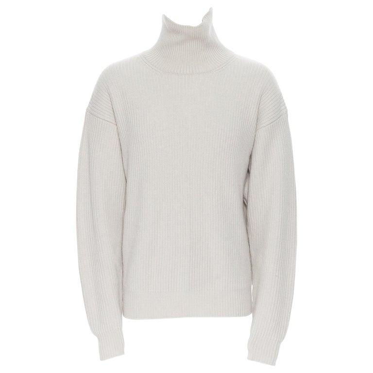 BOTTEGA VENETA 100% cashmere taupe beige oversized turtleneck sweater IT48 M For Sale