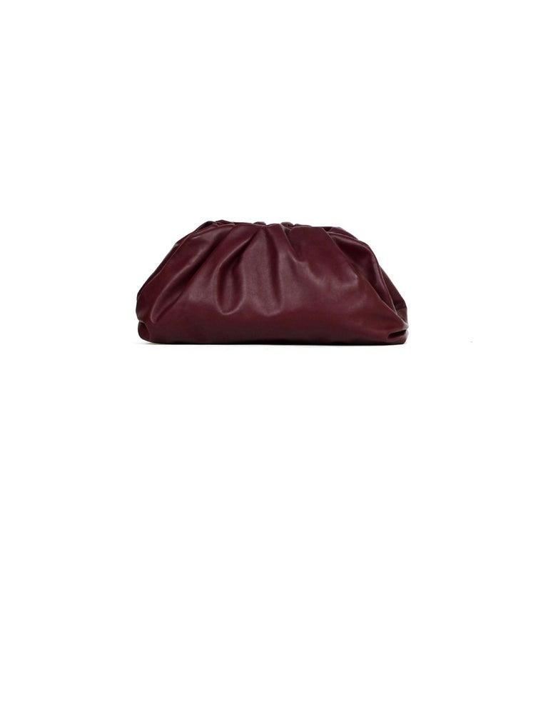 Black Bottega Veneta 2019 Burgundy Smooth Calfskin The Pouch Oversized Clutch Bag For Sale