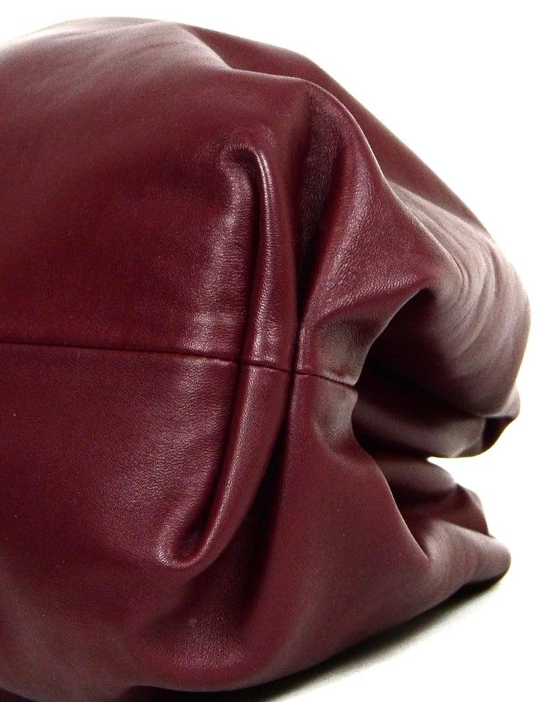 Women's Bottega Veneta 2019 Burgundy Smooth Calfskin The Pouch Oversized Clutch Bag For Sale