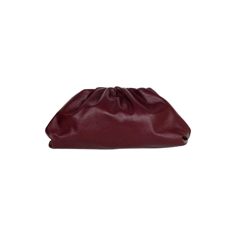Bottega Veneta 2019 Burgundy Smooth Calfskin The Pouch Oversized Clutch Bag For Sale