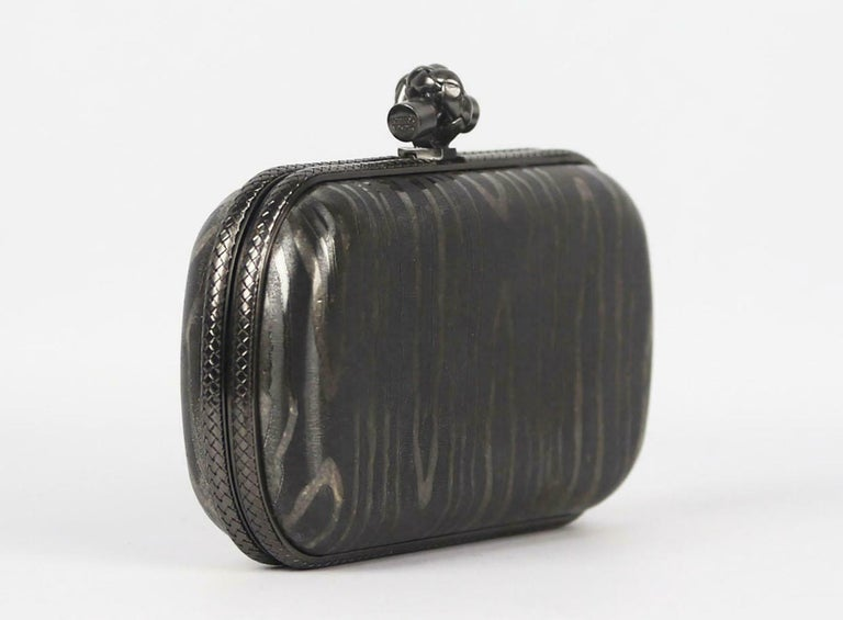 Black Bottega Veneta 50th Anniversary Limited Edition The Knot Sterling Silver Clutch For Sale