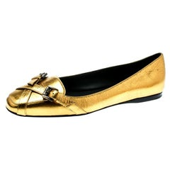 Bottega Veneta Antique Gold Leather Cross Buckle Strap Flats Ballet Size 38