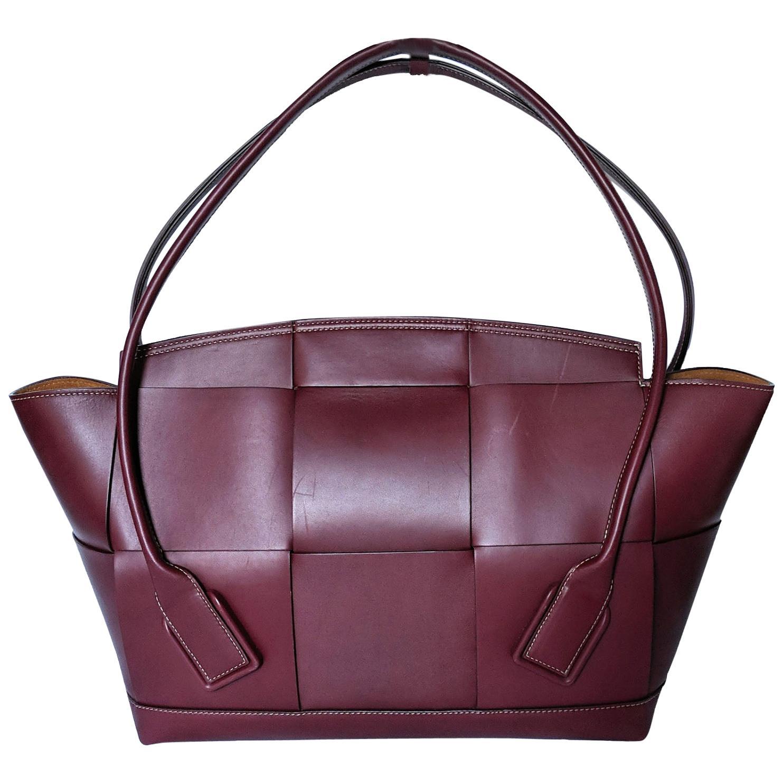 Bottega Veneta Arco Large Bordeaux Intrecciato Leather Bag