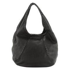 Bottega Veneta Baseball Hobo Leather with Intrecciato Detail Medium