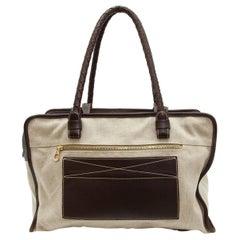 Bottega Veneta Beige & Brown Canvas Tote Bag