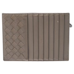 Bottega Veneta Beige Intrecciato Leather Card Holder 8CC