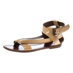 Bottega Veneta Beige Leather V Strap Flat Sandals Size 40
