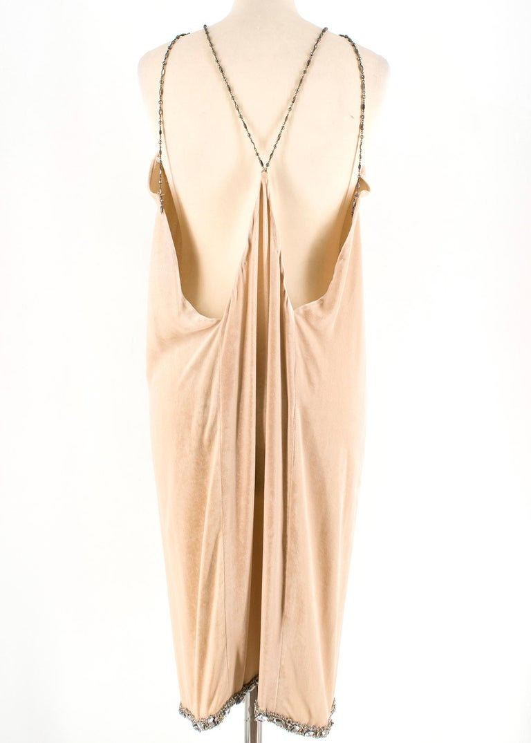 Orange Bottega Veneta Beige Velvet Chain Draped Low Back Embellished Dress IT 42 For Sale