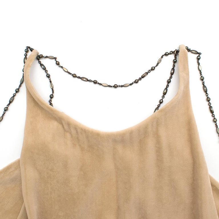 Bottega Veneta Beige Velvet Chain Draped Low Back Embellished Dress IT 42 In Excellent Condition For Sale In London, GB